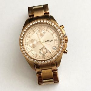 Fossil Rose Tone Women's Watch with Date and Timer